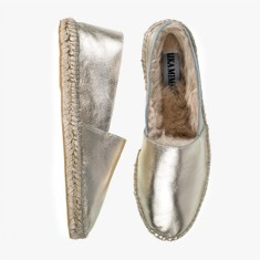 GOLD  Rabbit Fur  Espadrilles