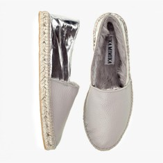SILVER GREY  Rabbit Fur  Espadrilles