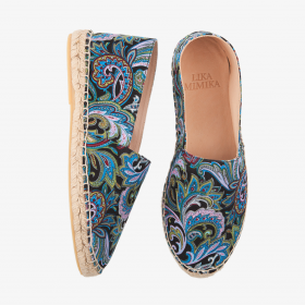 BLUE PAISLEY  Printed Silk Cotton   Espadrilles