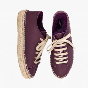AUBERGINE  Rabbit Fur  Lace Up