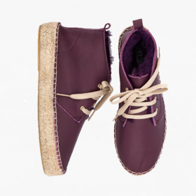 AUBERGINE  Rabbit Fur  High Lace Up