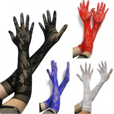 Lace Floral Mesh Flexible Fiber Gloves Adult Supplies Sex Products for Women - Black / White / Red / Blue (Pair)