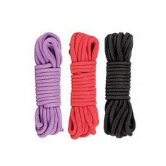 Adult 10m Long Binding Cotton Rope Sex Game Toy - Black / Red / Purple