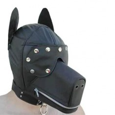 Zipper Dog Head Style Headgear Hood Alternative Sex Imagination Product for Couple SM Game with Eyepatch - Black
