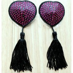 Lingerie Heart Shape Diamond-stud Tassel Nipple Decorative Covers Areola Paste - Rosy (1-Pair)