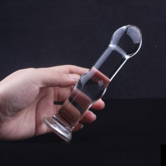 Gourd Shape Design Crystal Glass Dildos Penis Anal Plug Sex toy Masturbation Stick for Adult - Transparent