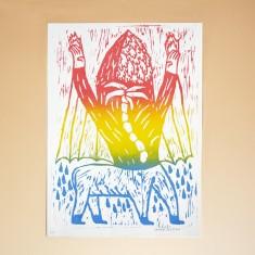 Jakob Feltsen I AM A CENTAUR TODAY linocut print