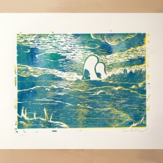 Tommi Musturi  THE UNKNOWN linocut print