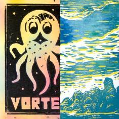 Tommi musturi  VORTEX + THE UNKNKOWN fanzine + linocut print