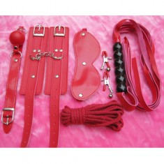 6-in-1 Sex Leather Toys Set Whip Mouth Plug Eyepatch Nipple Clips Handcuffs Cotton String for Women - Red