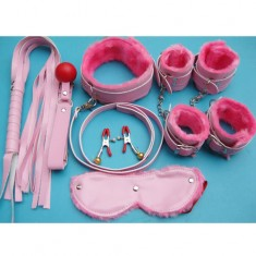 7-in-1 Sex Plush Toys Set Whip Mouth Plug Eyepatch Nipple Clips with Bell Handcuffs Foot-cuffs Collar for Women - Pink