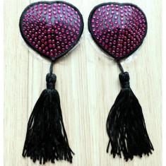 Lingerie Heart Shape Diamond-stud Tassel Nipple Decorative Covers Areola Paste - Rosy (1-Pair)