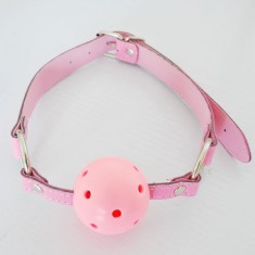 Leather Harness Mouth Solid Ball Gag 45mm Mouth Plug-Pink