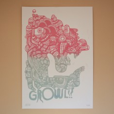 Mattia LulliniGROWL linocut print